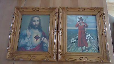 """2 VINTAGE wood CARVED Frame Religious Picture pictures JESUS & SHEPHERD 14"""" X 12"""