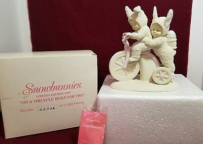"""Dept 56 Snowbunnies """"On a Tricycle Built For Two""""  #26283 in Original box"""