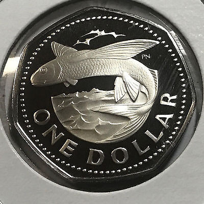 1974 Barbados Flying Fish One Dollar Gem Proof Coin