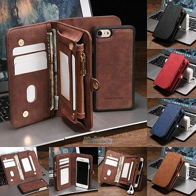 """Leather Removable Wallet Magnetic Flip Card Case Cover for iPhone 7 Plus 5.5"""" US"""