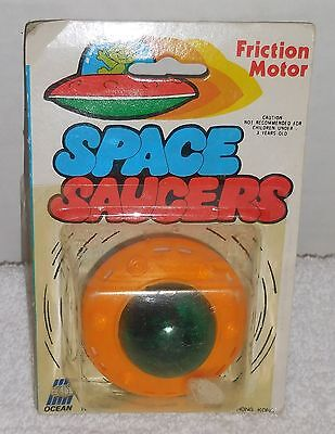 """Vintage SPACE SAUCERS Friction Motor 2"""" Toy 1970's No. 60C HONG KONG NEW/MIP/MOC"""