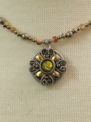 Michal Golan Sterling Silver Necklace w. 24K gold and Abalone Handmade