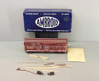 Ambroid HO Scale Train - 40ft Stock Car Kit - A.T. & S.F. - Wood Wall, (Started)