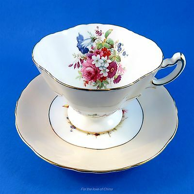 Signed Floral Bouquet with Peach Border Hammersley Tea Cup and Saucer Set