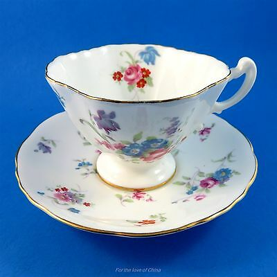 Pretty Pastel Floral Tapered Hammersley Tea Cup and Saucer Set