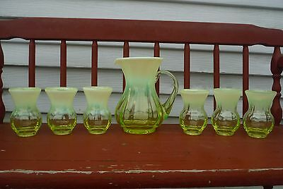 Gibson Glass Vaseline Opalescent Water Set Pitcher & Tumblers