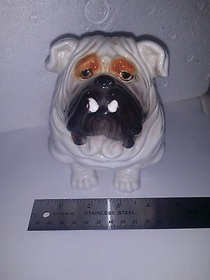VINTAGE English Bulldog Figurine- Planter! Funny bully face!