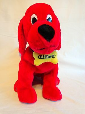 "Clifford the Big Red Dog Bean Bag Plush 15"" Yellow Bone Collar Kohls 2003"