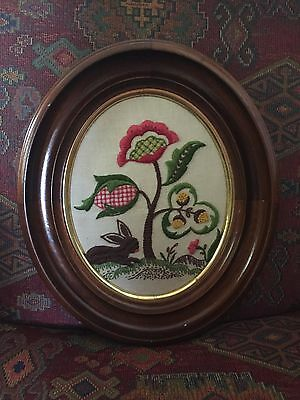 Antique vintage hand worked floral w/rabbit crewel embroidery oval wood frame