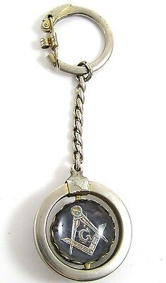 Vintage Glass Blue Compass &Square Masonic Sterling Silver Dangle Key Chain*Y424