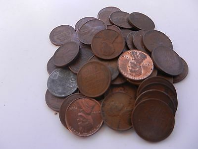 50 Different cents wheat pennies per roll 10's to 50's ; P, D, S