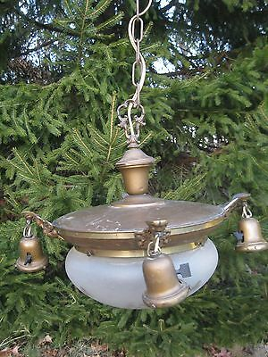 Antique BRASS Light Fixture CHANDELIER 5 Lamp Frosted & Clear Glass DOME SHADE
