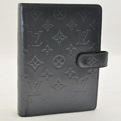 Auth Louis Vuitton Monogram Mat Agenda MM Day Planner Cover Gray #S3170 E