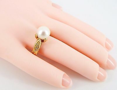 14k 9mm Akoya Pearl Detailed Etruscan Revival Style Ring Size 7 1/2