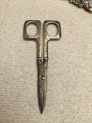 """Antique Square Top Holes Arts & Crafts Sterling Silver Scissors 5 3/4"""""""