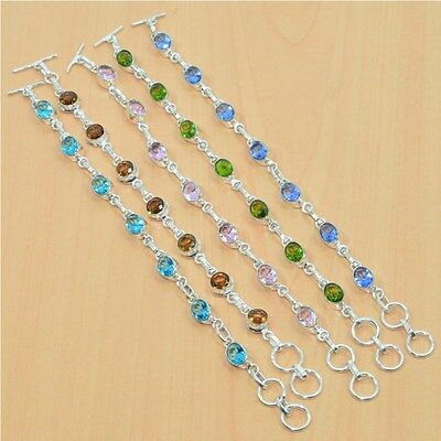 925 Sterling Silver Plated Wholesale 5Pc Faceted Peridot & Mix Stone Braceletlot