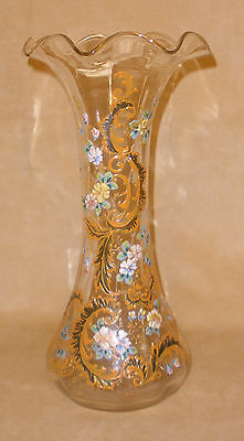 "13"" Clear Fluted Clear Vase w/ Orange Enamel Accents - Moser Style - Bohemian"