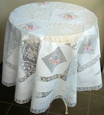 """Unused Vintage Tablecloth Dainty Round White Embroidered Cotton 145cm / 57"""""""