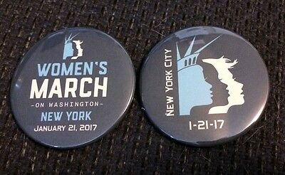 Women's March - January 21, 2017 - New York City - Set of 2 Buttons / Pins