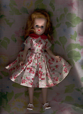 "Jill 10"" Hard Plastic Doll By Vogue 1950's Wearing A Pink Floral Dress & Shoes"