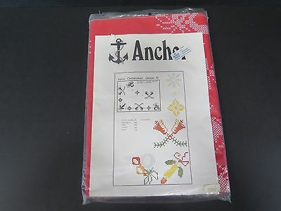 Beautiful Anchor Red Christmas Cross Stitch Tablecloth Kit