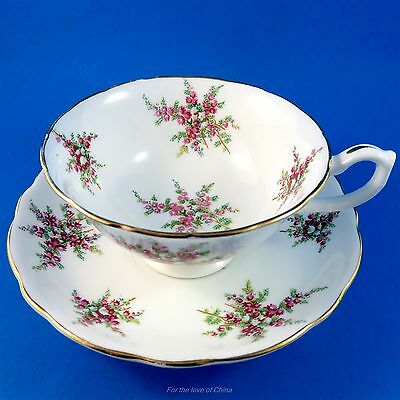 Hammersley Purple Floral Sprigs Tea Cup and Saucer Set