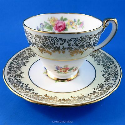 Pretty Pale Yellow Border with Florals Hammersley Tea Cup and Saucer Set