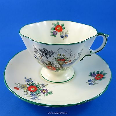 Handpainted Scenic and Floral Hammersley Tea Cup and Saucer Set