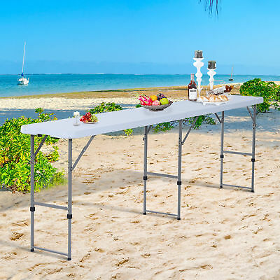 8.6'  Folding Camping Picnic BBQ Table Party Garden Outdoor Portable Adjustable