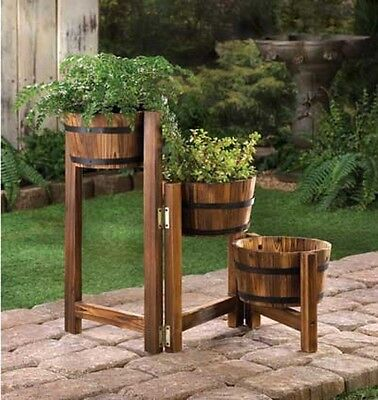 Rustic Vintage 3 Tier Adjustable Apple Barrel Planter Trio Outdoor Garden Patio