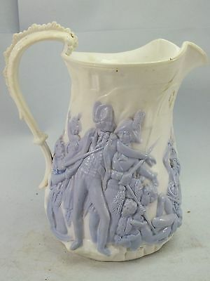 """A STONE-WARE JUG WITH """"BATTLE OF WATERLOO"""" ?LILAC FIGURES ON WHITE GROUND  19thC"""
