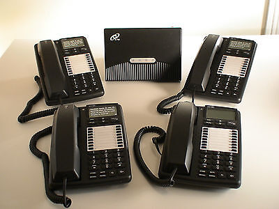 Small Phone System PBX 3 lines 8 extensions + 4 Office Telephones Brand New