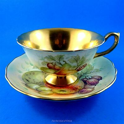 Rare Painted Fruit & Gold Signed D.Millington Hammersley Tea Cup and Saucer Set