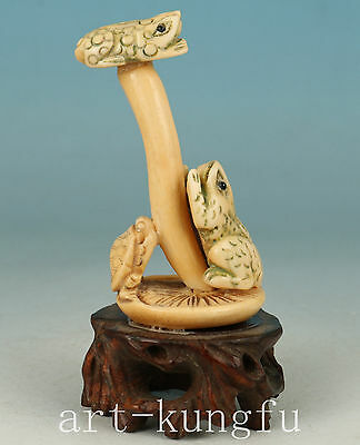 Chinese Old No Plastic Collection Handmade Carved Frog Statue Figure Decoration