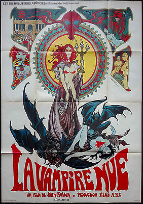 1970 THE NAKED VAMPIRE nude Jean Rollin HORROR Druillet 45x62 french poster
