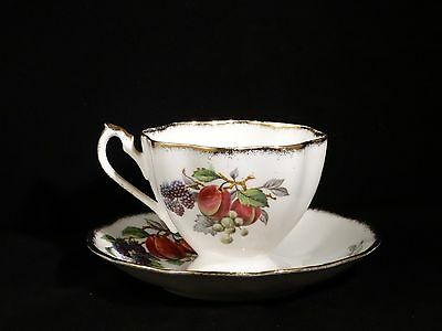 Queen Anne Fine Bone China Footed Cup & Saucer Fruit Series Plums England