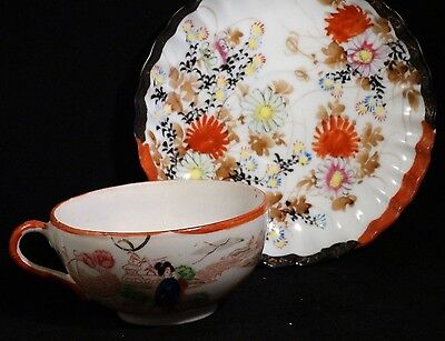 Vintage Oriental Tea Cup and Saucer Set Hand Painted Excellent Condition On Sale