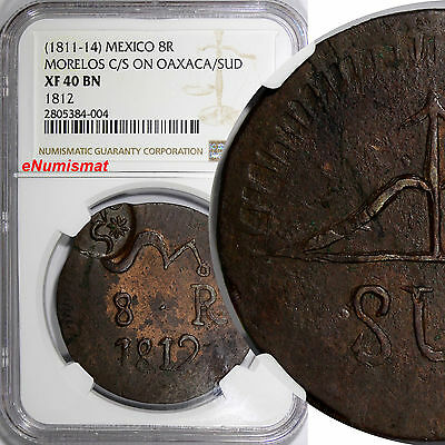 Mexico MORELOS (1811-14) 8 Reales C/S on OAXACA SUD NGC XF40 BN TOP GRADED RARE