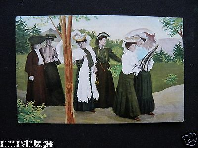 Unusual C Weird Postcard Victorian or  Edwardian Ladies Fashion Group  003