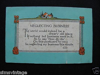 Unusual C Weird Postcard Neglecting Business Poem Humour 0010