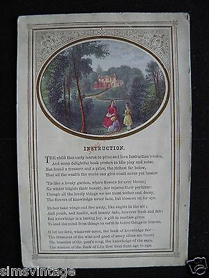 Unusual Weird D Postcard Instruction Poem Childs eductation related 1