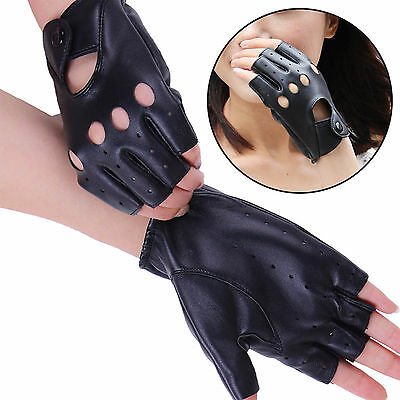 SUP Lady Short Leather Gloves Half Finger Fingerless Dance Stage Cycling Driving
