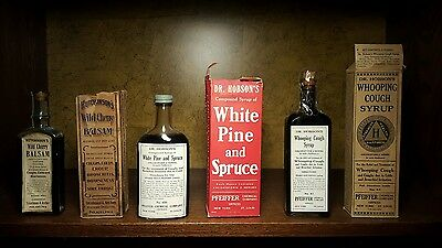 Lot of 3 antique patent medicine cures with boxes inc. 2 DR. HOBSON'S RARE!