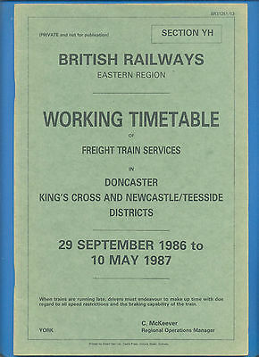 British Railways Eastern Region Working Timetable.29 Sept.1986-10 May 1987