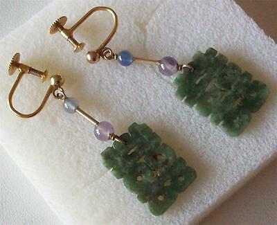 Chinese Antique Victorian Spinach Green Genuine Jade 9Ct Gold Drop Earrings