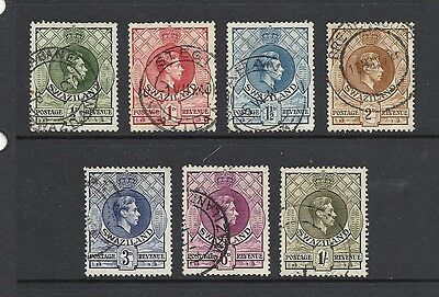 1938 KGVI SG28a to SG35a short set Used   SWAZILAND