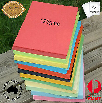 100 x 125gsm A4 Coloured Card Cardboard Paper DIY Craft Handicraft- Premium Qlty