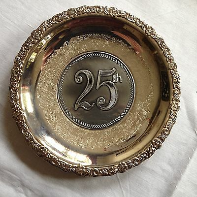 25th anniversary silver plated dish