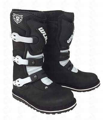 Wulfsport Wulf Cub Childrens Kids Youth Off Road Trials Quad Leather Boots BLACK