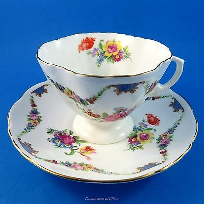 Pretty Floral Garland Hammersley Tea Cup and Saucer Set (Some Crazing)